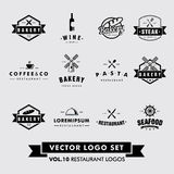 Restaurant-Vektor Logo Set Lizenzfreie Stockfotos