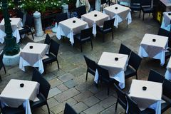 Restaurant, view from a bridge, oudoors, Venice, Europe Royalty Free Stock Images