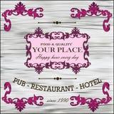 Restaurant, vin, rétro label d'hôtel Photographie stock libre de droits