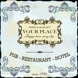 Restaurant, vin, rétro label d'hôtel Image libre de droits