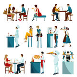 Restaurant Visitors Flat Icons Set Royalty Free Stock Image