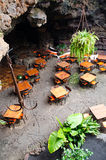 Restaurant in volcano cave Stock Photo