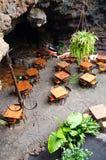 Restaurant in volcano cave Stock Photo