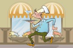 Restaurant waiter brings order Royalty Free Stock Images