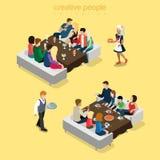 Restaurant waiter flat isometry food meal vector family dinner Stock Images