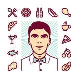 Restaurant waiter Icons Stock Photography