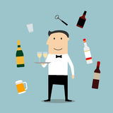 Restaurant waiter profession and drinks icons Royalty Free Stock Photo