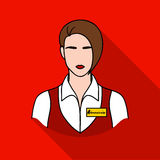Restaurant waitress with a badge icon in flat style isolated on white background. Restaurant symbol stock vector Royalty Free Stock Images