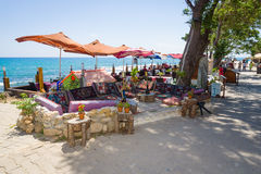 Restaurant on the waterfront. Royalty Free Stock Image