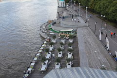Restaurant on the waterfront view from the bridge over the Moscow river. Beautiful places Moscow embankment near Gorky Park Stock Photo