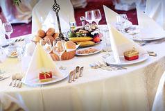 Restaurant wedding table Stock Images