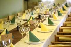 Restaurant Wedding table  yellow room Stock Image