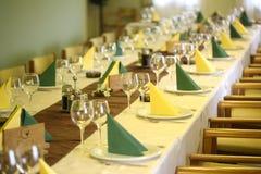 Restaurant Wedding table  yellow room Stock Image