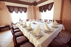 Restaurant Wedding table  yellow room. Sunny day Royalty Free Stock Images