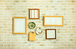 Restaurant white brick wall decoration Royalty Free Stock Images
