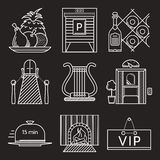Restaurant white line icons Royalty Free Stock Photography