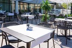 Restaurant White Tableclothes Modern Minimal Simplistic Outdoors. Beautiful Day Stock Image