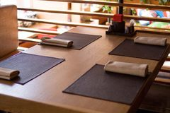 Restaurant with wooden interior royalty free stock photography