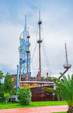The restaurant in the wooden ship. BATUMI, GEORGIA - MAY 24, 2016: The restaurant occupies the replica of the medieval warship, located in the Seaside Park, on Stock Image