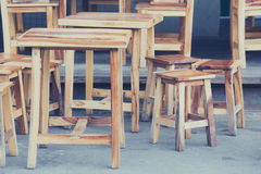 Restaurant wooden table and chairs Stock Photos