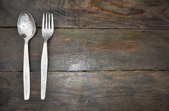 Restaurant wooden table Royalty Free Stock Images