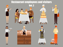 Restaurant workers cartoon characters. People work in restaurant isolated. Family having dinner in cafe. Vector. Illustration in flat style design Royalty Free Stock Photography