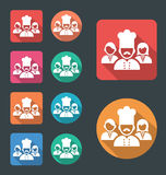 Restaurant workers icon. Vector flat icon, round corners icons with different color variation Royalty Free Stock Images