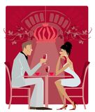 Restaurant1. Couple in the restaurant vine cellar Royalty Free Illustration