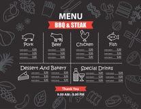 Restaurantbbq het ontwerp van het lapje vleesmenu Royalty-vrije Stock Foto's