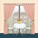 Restaurantbinnenland in klassieke stijl Lijst met stoelen dichtbij het panoramische venster stock illustratie