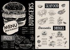 Restaurantcafémenü Lebensmittelflieger Stockbild