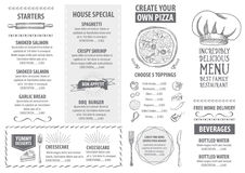 Restaurantcafémenü, Schablonendesign Lebensmittelflieger Lizenzfreie Stockfotos