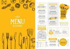 Restaurantcafémenü, Schablonendesign Lebensmittelflieger Lizenzfreie Stockbilder