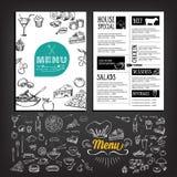 Restaurantcafémenü, Schablonendesign Lebensmittelflieger Stockfotografie