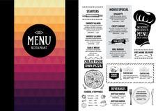 Restaurantcafémenü, Schablonendesign Lebensmittelflieger Stockfoto