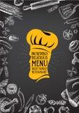Restaurantcafémenü, Schablonendesign Lebensmittelflieger Lizenzfreies Stockfoto
