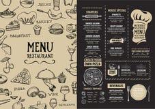 Restaurantcafémenü, Schablonendesign Lebensmittelflieger Stockbild