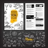 Restaurantcafémenü, Schablonendesign Lebensmittelflieger Stockfotos
