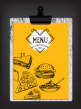 Restaurantcafémenü, Schablonendesign Lebensmittelflieger Lizenzfreie Stockfotografie