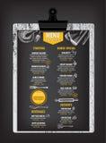 Restaurantcafémenü, Schablonendesign Lebensmittelflieger Stockbilder