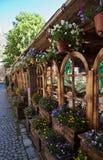 Restaurante agradável com muitas flores no lago Matka Imagem de Stock