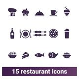 Restaurante, bistro, iconos del vector de las comidas del café fijados stock de ilustración
