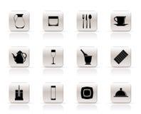 Restaurante, café, barra e ícones do clube de noite Foto de Stock