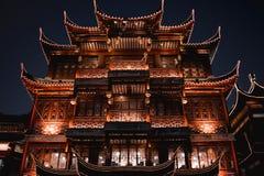 Restaurante chino de Traditiona el club de Lubolang en el bazar Shangai de Yuyuan fotografía de archivo