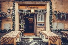 Restaurante clásico de la pizzería en colores del vintage Imagen de archivo libre de regalías