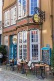 Restaurante colorido en el distrito de Schnoor de Bremen imagen de archivo libre de regalías