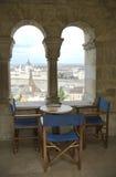 Restaurante com uma vista aérea na cidade de Budapest Imagens de Stock
