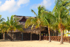 Restaurante da praia em cocos de Cayo Foto de Stock Royalty Free