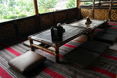 Restaurante de bambú en Bandung Indonesia Fotografía de archivo libre de regalías