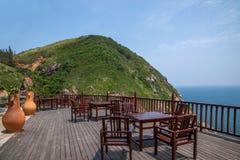 Restaurante de Hai Ting da opinião de Lingshui da ilha do limite Fotografia de Stock